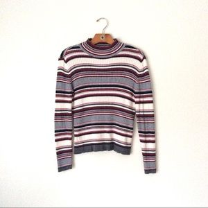 Vintage mock neck striped fitted sweaters
